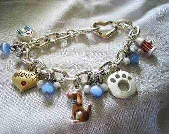 Adorable Dog Lovers Charm Bracelet 5 Charms & Beads