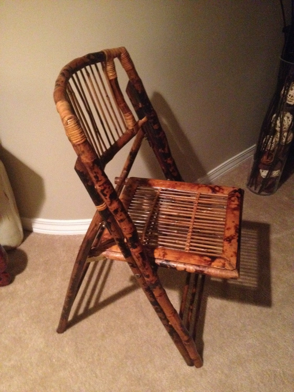 SALE Vintage Bamboo Wicker Wood Folding Chair