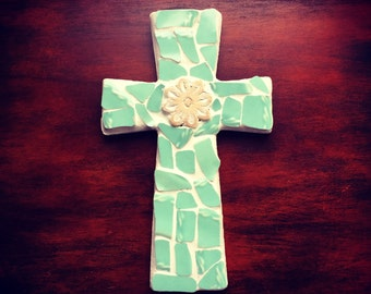 Beautiful Mosaic Cross, perfect for Christmas and Baptisms