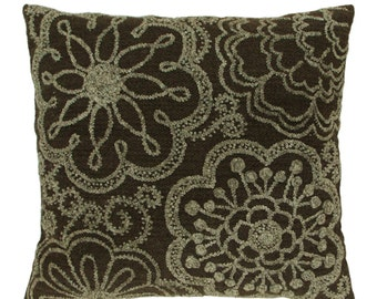 SALE Pillow Two- Tone Floral - Light Gray/Dark Gray