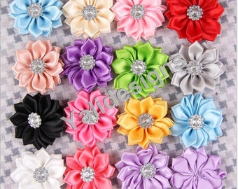 10pcs 3.5CM 1.5'' inch Wholesale Satin Flower Brooch/Flower Headdress DIY Headband Accessories-Mixed Color- YTA42