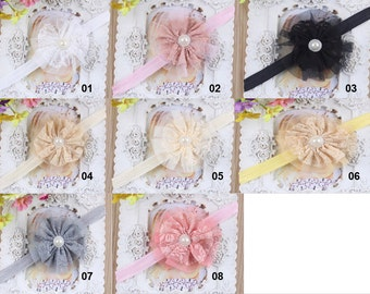 U Pick Wholesales Lace Pearl Flower Headband Baby Headbands. Newborns Headbands. Girl's Headband YTH17