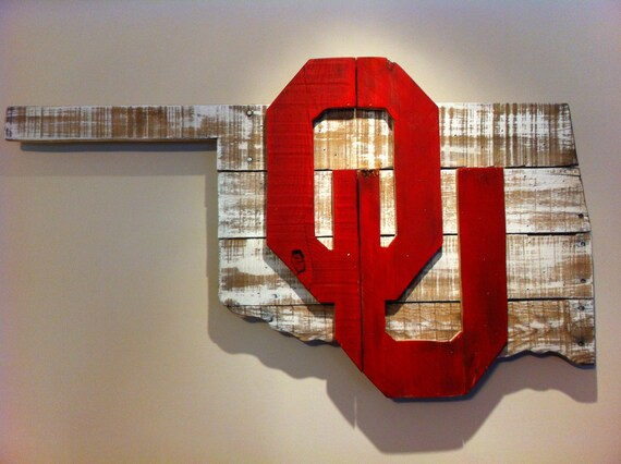 Items similar to wooden state of oklahoma with ou logo on etsy for Tattoo shops okc