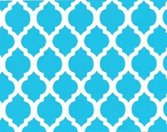 Turquoise mini Quatrefoil fabric by Fabric Finders aqua small quatrefoil fabric teal quatrefoil fabric by the yard, sewing quilting apparel