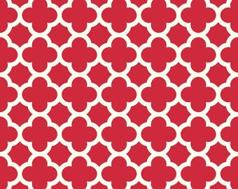 Riley Blake red quatrefoil fabric Christmas Valentine quilting sewing apparel fabric by the yard modern red quatrefoil print fabric