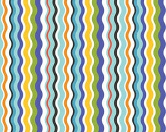 Bailey Zanie Blue by Blend fabrics zig zag chevron multi color fabric by the yard for sewing quilting and childrens apparel fabric