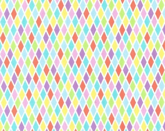 Rhombus Michael Miller Fabric in yellow harlequin multi color fabric by the yard for sewing quilting apparel fabic multi color blend fabric