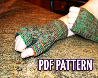One Size Fits All Fingerless Gloves Knitting Pattern - PDF File Digital delivery