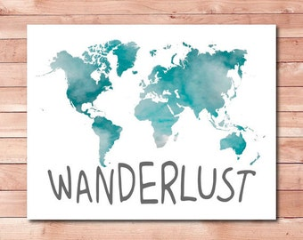 wanderlust printable world map poster, world map instant download, wanderlust print, travel quote poster, world map printable wall art jpg