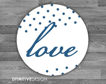Addison Collection Polkadot Love Envelope Seal Stickers - 1.5 inch Round Customizable Printed Stickers