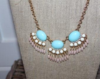Aqua and pink pendant necklace