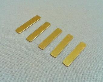 100 Pcs Raw Brass  4 x 20 mm Rectangular No Holes Stamping Tag Connectors - 25 Gauge