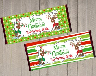 Christmas Reindeer Chocolate Candy Bar Wrapper, Printable Party Decorations, DIY Party Decorations, School Treats, Christmas Favor