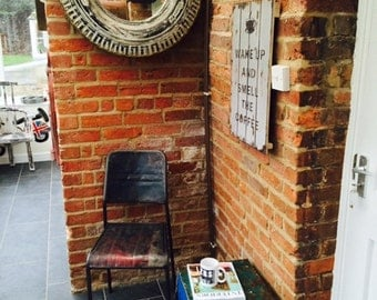 Recycled handmade mirror for man cave office and bars and garden