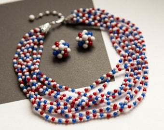 Vintage Red, White and Blue Beaded Multi Strand Necklace and Earring Set!