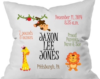 Personalized birth announcement throw pillow with jungle animals