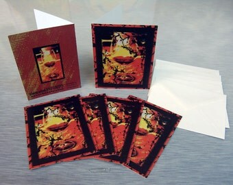 Wine Glass Hemp + Recycled Greeting Cards Pack Of 6