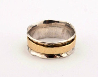 Wedding Ring - Sterling Silver And 14k Gold  Ring, Silver&Gold Wide Ring, Set Gold Spinning Ring,2 Wedding Band,2 Gold Spinning Ring
