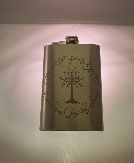 Lord Of The Rings Inspired Flask Elvish One Ring to rule them all writing around LotR tree Etched Stainless Steel 8oz Flask