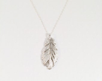 Floating Feather Sterling Silver Necklace