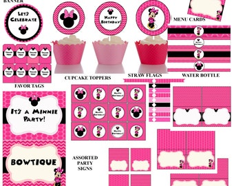 70% OFF Minnie Mouse Party package, Minnie Mouse, instant download, cupcake toppers, birthday banner, favor tags, Invitation sold separately