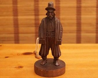 Vintage Wood Man Statue / Figurine Wood Base