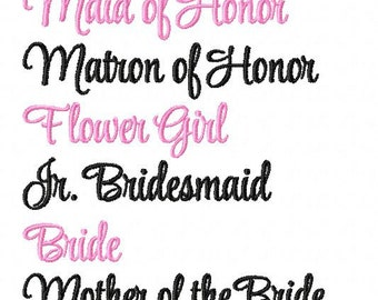 Wedding Party Names Machine Embroidery Designs