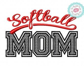 Softball Mom Motif Stitch Machine Embroidery Design