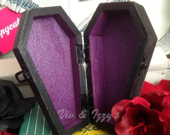 Purple People Eater Glitter Coffin Box for knick knacks, bobby pins & jewelry