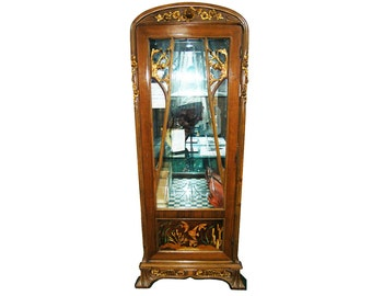 6740 Lovely Art Nouveau Inlaid Glass Vitrine