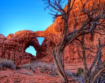 "Digital Photo Art ""Double Arch in Arches National Park, Utah"" A Pop!-Color-High-Contrast Photo Art Print Created Outside of Moab, Utah"
