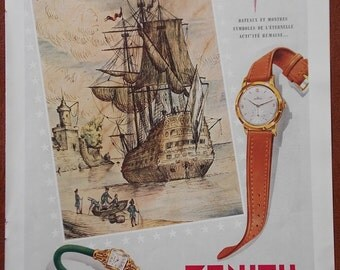 Vintage 1951 french DIABLERIE Perfume by L.T. Piver Paris/Zenith Watches advert
