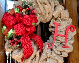 Christmas wreath, Door wreath, Holiday Wreath, Burlap wreath, Winter wreath,  Monogram wreath, Christmas burlap wreath
