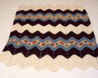 Crocheted afghan, couch throw, lap thrown, small blanket, crochet blanket, crocheted throw, bed throw blanket,crocheted ripple blanket