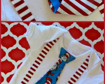 Dr Seuss Cat in the Hat tie shirt with suspenders