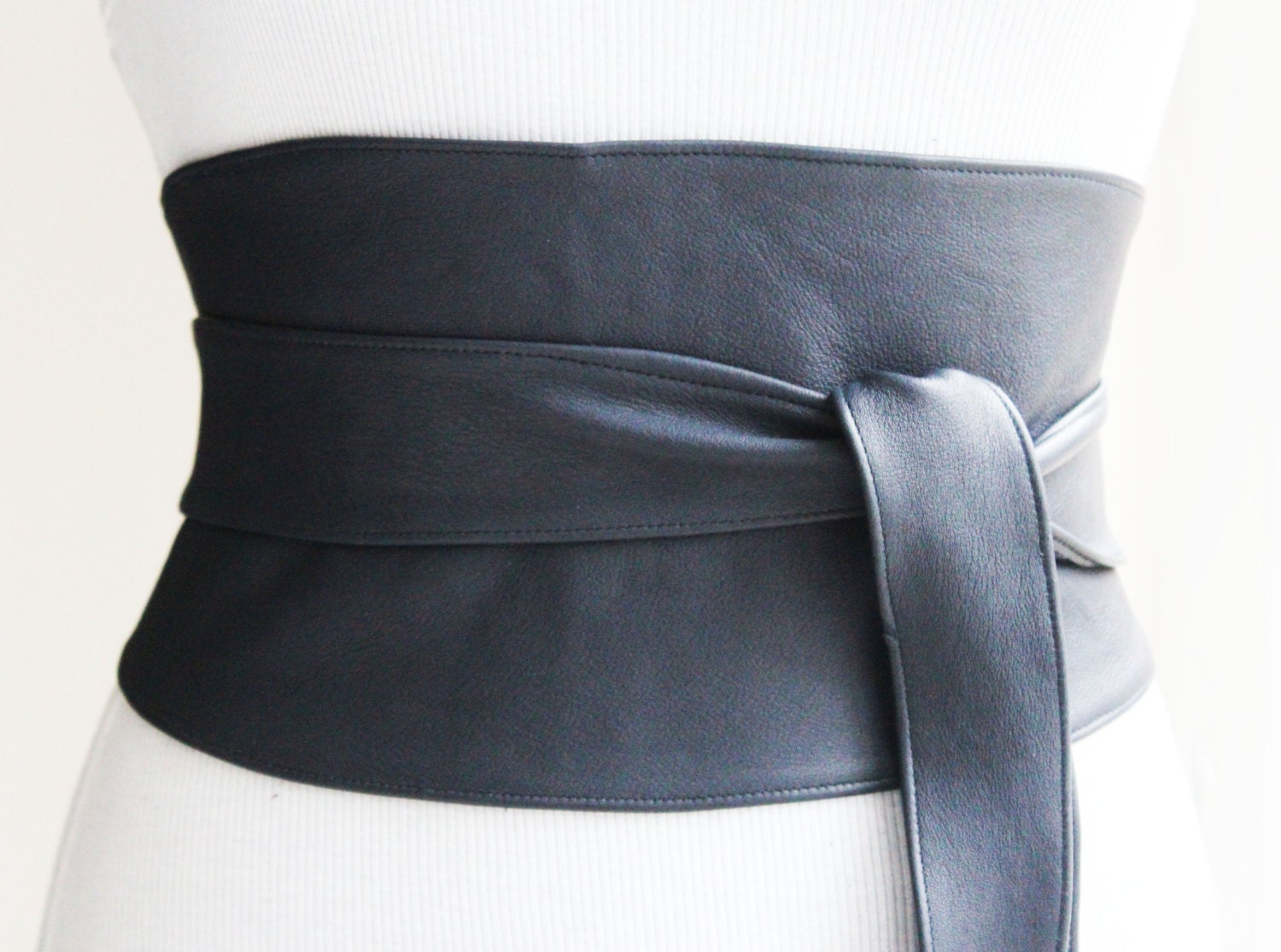 obi belt navy wide leather | corset waist belt | leather obi belt