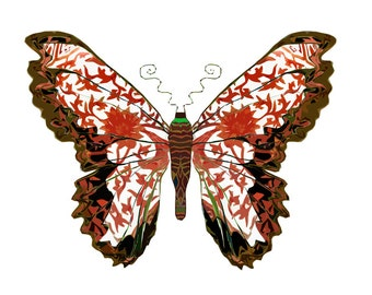 11x14 Myth of Red Butterfly Print
