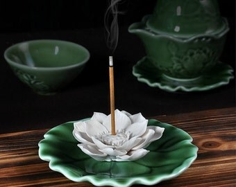 Lotus Incense Holder Aroma Scent Burner Sculpture Figurine