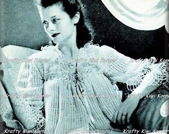 Crochet Vintage/Victorian Style Bed Jacket Pattern-2 PDF Files