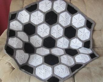 Crochet baby soccer blanket