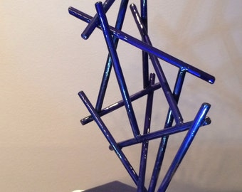 Blue Bamboo - a zen steel sculpture