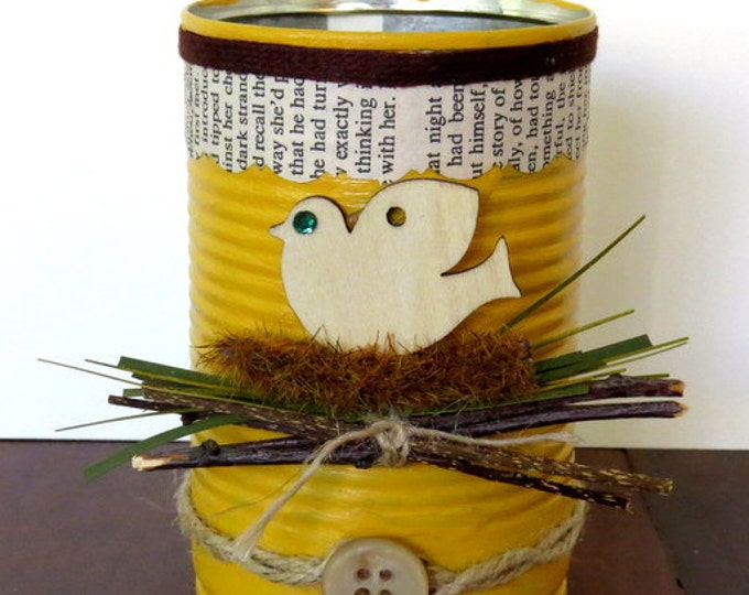 Altered Recycled Decorative Cans, Home Decor, Utensil Holder, Centerpieces