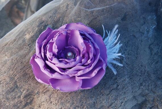 Lilac open rose hair clip; wedding;bridesmaid
