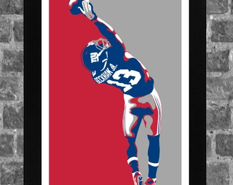 New York Giants Odell Beckham Jr Portrait Sports Print Art 11x17