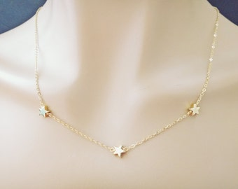Triple, Star, Necklace, Mamma Mia, Necklace, Gold filled, Chain, Necklace, Birthday, Friendship, Best friends, Gift