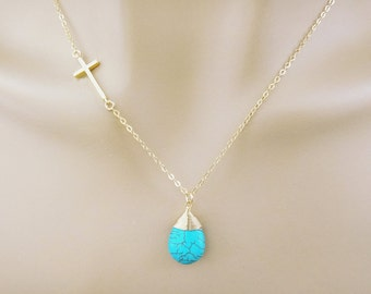 Gold, Cross, Turquoise, Necklace, Beautiful, Cross, Jewelry, Birthday, Wedding, Bridesmaid, Friendship, Gift, Accessories, Jewelry