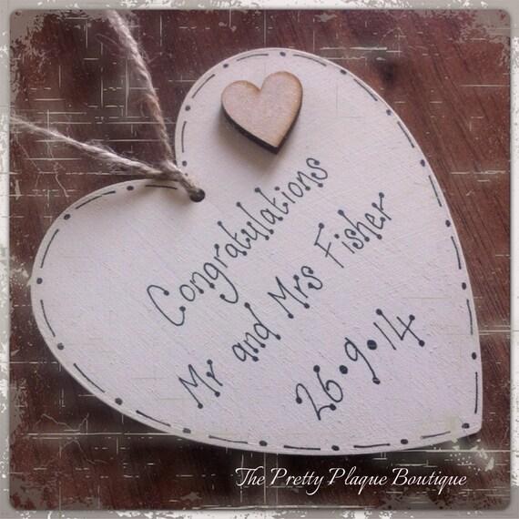 Personalised Wooden Heart Wedding Gift : Personalised Wooden Wedding Heart Plaque ~ Wedding Gift ~ Anniversary ...