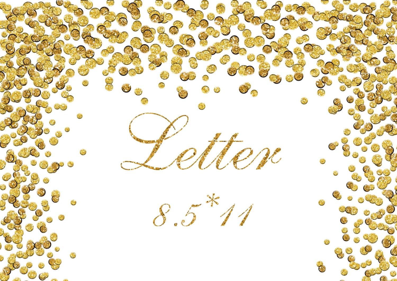 Gold Glitter Confetti Border Clipart Foil Dots Digital Paper