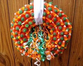 Candy Corn & Pumpkin  Wreath