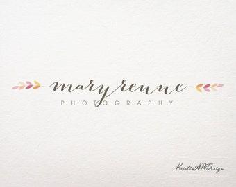 Hand-written logo design, Premade logo, Leaf logo, Photography logo, Pink logo, Elegant logo design, Watermark 193